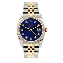 Load image into Gallery viewer, Rolex Datejust 36mm Yellow Gold and Stainless Steel Bracelet Dark Blue Dial w/ Diamond Bezel