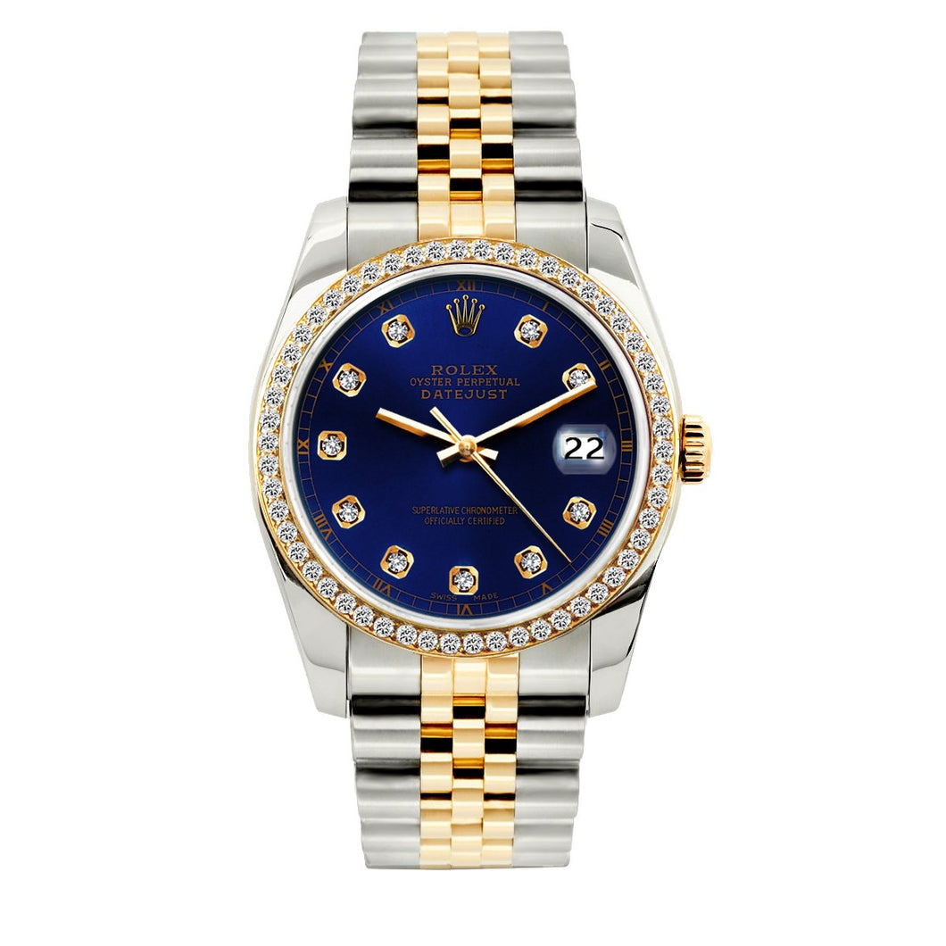 Rolex Datejust 36mm Yellow Gold and Stainless Steel Bracelet Dark Blue Dial w/ Diamond Bezel