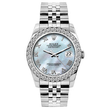 Load image into Gallery viewer, Rolex Datejust 26mm Stainless Steel Bracelet Blue Mother of Pearl Dial w/ Diamond Bezel