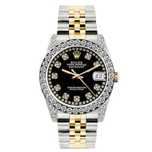 Load image into Gallery viewer, Rolex Datejust 26mm Yellow Gold and Stainless Steel Bracelet Black Dial w/ Diamond Bezel and Lugs