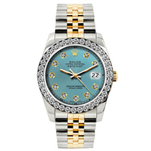 Load image into Gallery viewer, Rolex Datejust 26mm Yellow Gold and Stainless Steel Bracelet Ice Blue Dial w/ Diamond Bezel