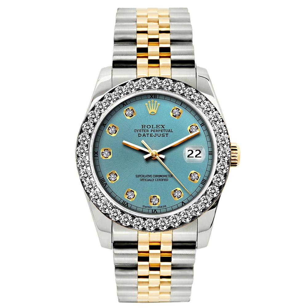 Rolex Datejust 26mm Yellow Gold and Stainless Steel Bracelet Ice Blue Dial w/ Diamond Bezel