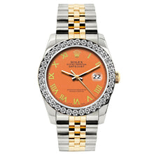 Load image into Gallery viewer, Rolex Datejust 26mm Yellow Gold and Stainless Steel Bracelet Orange Dial w/ Diamond Bezel