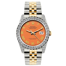 Load image into Gallery viewer, Rolex Datejust 26mm Yellow Gold and Stainless Steel Bracelet Orange Dial w/ Diamond Bezel and Lugs