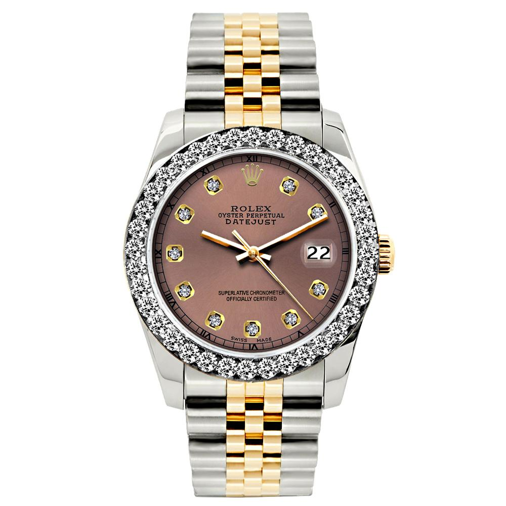 Rolex Datejust 26mm Yellow Gold and Stainless Steel Bracelet Earthen Dial w/ Diamond Bezel