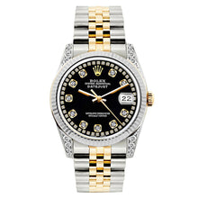 Load image into Gallery viewer, Rolex Datejust 26mm Yellow Gold and Stainless Steel Bracelet Black Dial w/ Diamond Lugs