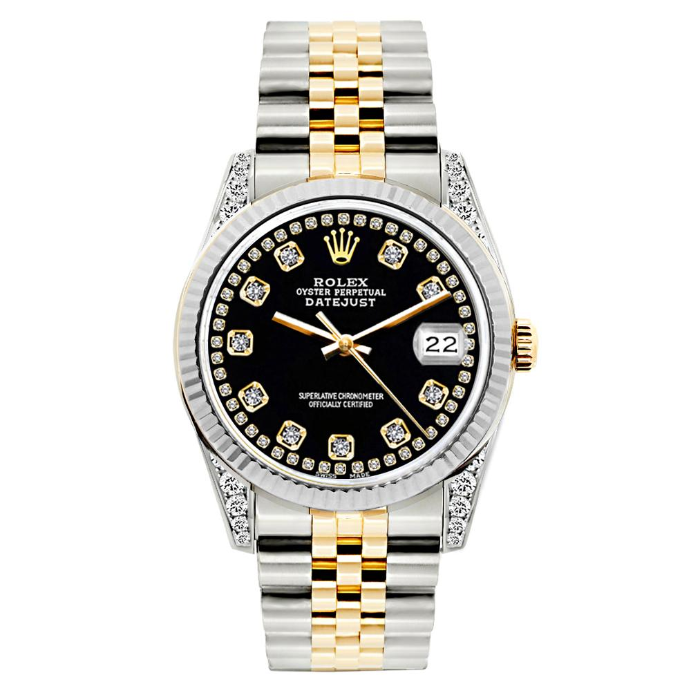 Rolex Datejust 26mm Yellow Gold and Stainless Steel Bracelet Black Dial w/ Diamond Lugs