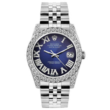 Load image into Gallery viewer, Rolex Datejust 26mm Stainless Steel Bracelet Roman Blue Dial w/ Diamond Bezel and Lugs