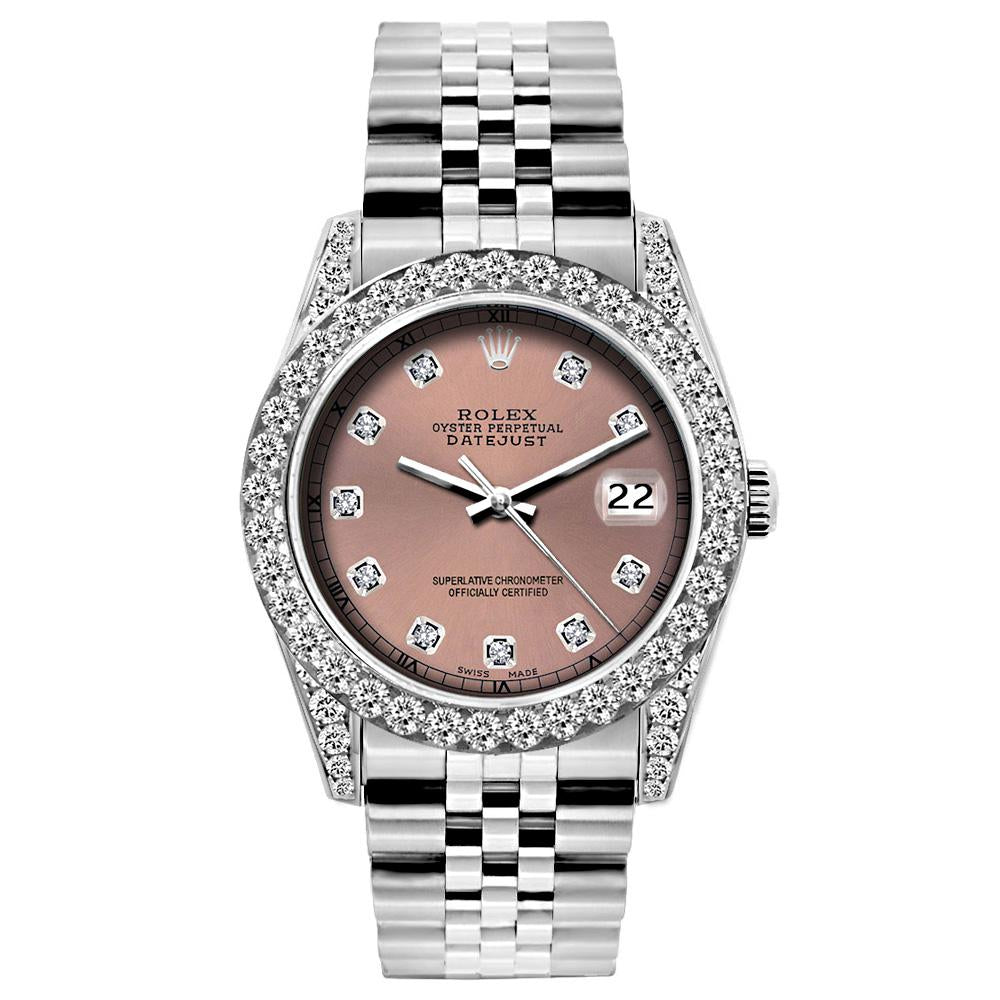 Rolex Datejust 26mm Stainless Steel Bracelet Rust Dial w/ Diamond Bezel and Lugs