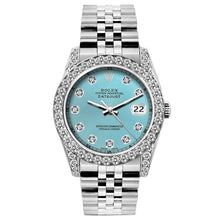 Load image into Gallery viewer, Rolex Datejust 26mm Stainless Steel Bracelet Blue Rays Dial w/ Diamond Bezel and Lugs