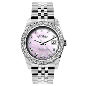 Rolex Datejust 26mm Stainless Steel Bracelet Pink Mother of Pearl Dial w/ Diamond Bezel