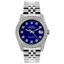 Load image into Gallery viewer, Rolex Datejust 26mm Stainless Steel Bracelet Blue Dial w/ Diamond Bezel and Lugs