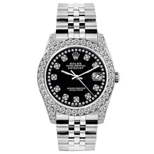Load image into Gallery viewer, Rolex Datejust 26mm Stainless Steel Bracelet Black Star Dial w/ Diamond Bezel and Lugs