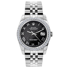 Load image into Gallery viewer, Rolex Datejust 26mm Stainless Steel Bracelet Black Rolex Dial w/ Diamond Bezel