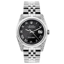 Load image into Gallery viewer, Rolex Datejust 26mm Stainless Steel Bracelet Black Rolex Dial w/ Diamond Lugs
