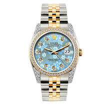 Load image into Gallery viewer, Rolex Datejust 36mm Yellow Gold and Stainless Steel Bracelet Blue Flower Dial w/ Diamond Bezel and Lugs