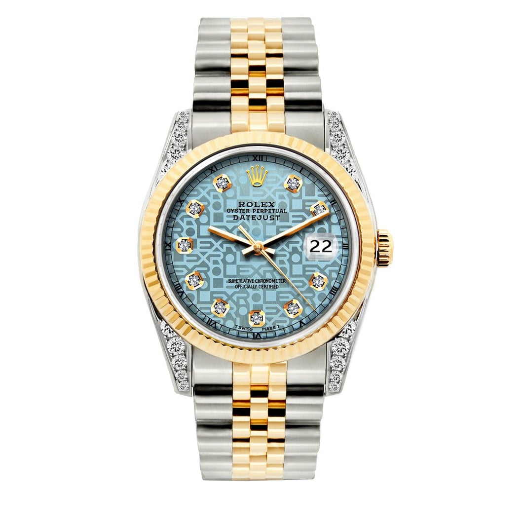 Rolex Datejust 36mm Yellow Gold and Stainless Steel Bracelet Blue Rolex Dial w/ Diamond Lugs