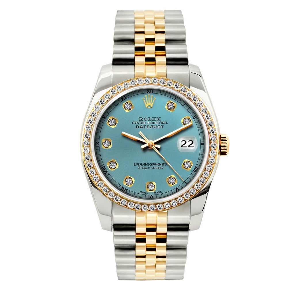 Rolex Datejust 36mm Yellow Gold and Stainless Steel Bracelet Ice Blue Dial w/ Diamond Bezel