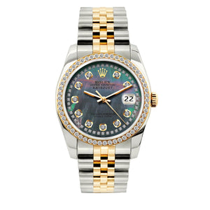 Rolex Datejust 36mm Yellow Gold and Stainless Steel Bracelet Mother of Pearl Dial w/ Diamond Bezel