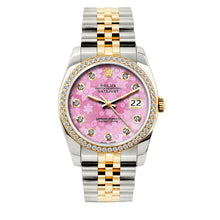 Load image into Gallery viewer, Rolex Datejust 36mm Yellow Gold and Stainless Steel Bracelet Pink Flower Dial w/ Diamond Bezel