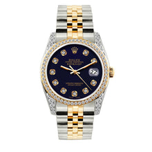 Load image into Gallery viewer, Rolex Datejust 36mm Yellow Gold and Stainless Steel Bracelet Purple Dial w/ Diamond Bezel and Lugs