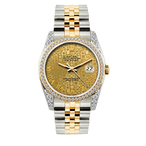 Rolex Datejust 36mm Yellow Gold and Stainless Steel Bracelet Yellow Gold Dial w/ Diamond Bezel and Lugs