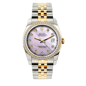 Rolex Datejust 36mm Yellow Gold and Stainless Steel Bracelet Lavender Dial w/ Diamond Bezel