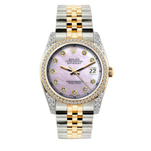 Load image into Gallery viewer, Rolex Datejust 36mm Yellow Gold and Stainless Steel Bracelet Lavender Dial w/ Diamond Bezel and Lugs