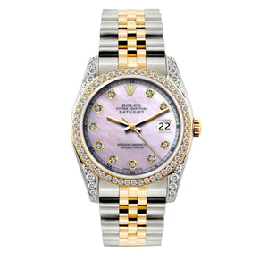 Rolex Datejust 36mm Yellow Gold and Stainless Steel Bracelet Lavender Dial w/ Diamond Bezel and Lugs