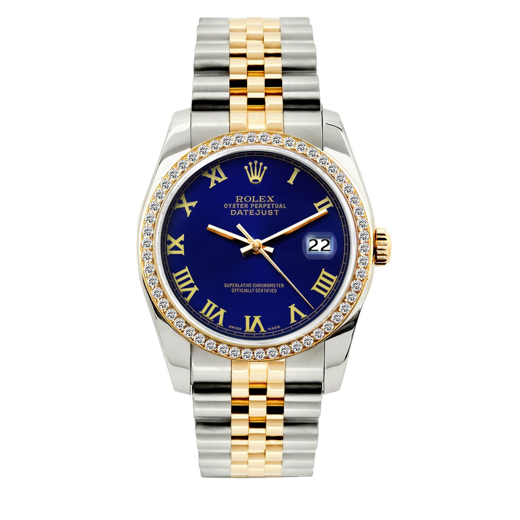 Rolex Datejust 36mm Yellow Gold and Stainless Steel Bracelet Royal Blue Dial w/ Diamond Bezel