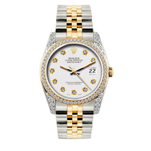 Load image into Gallery viewer, Rolex Datejust 36mm Yellow Gold and Stainless Steel Bracelet White Dial w/ Diamond Bezel and Lugs