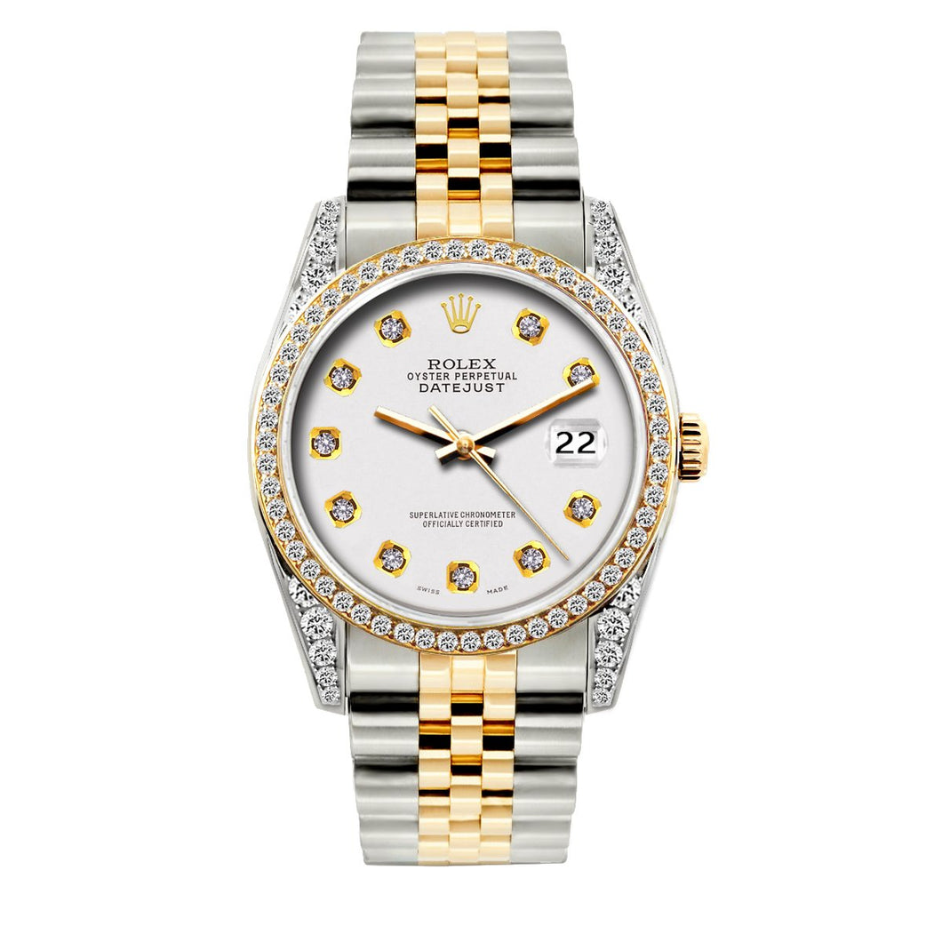 Rolex Datejust 36mm Yellow Gold and Stainless Steel Bracelet White Dial w/ Diamond Bezel and Lugs