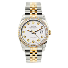 Load image into Gallery viewer, Rolex Datejust 36mm Yellow Gold and Stainless Steel Bracelet White Dial w/ Diamond Bezel