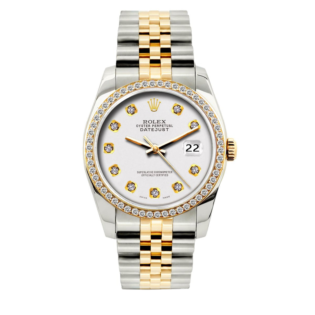 Rolex Datejust 36mm Yellow Gold and Stainless Steel Bracelet White Dial w/ Diamond Bezel