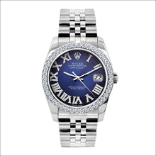 Load image into Gallery viewer, Rolex Datejust 36mm Stainless Steel Blue Dial w/ Diamond Bezel