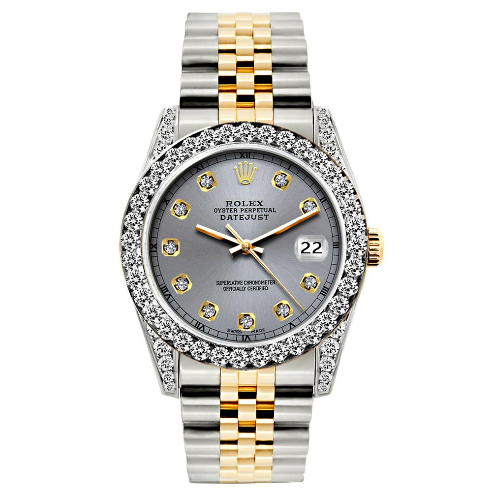 Rolex Datejust 26mm Yellow Gold and Stainless Steel Bracelet Aluminum Dial w/ Diamond Bezel and Lugs