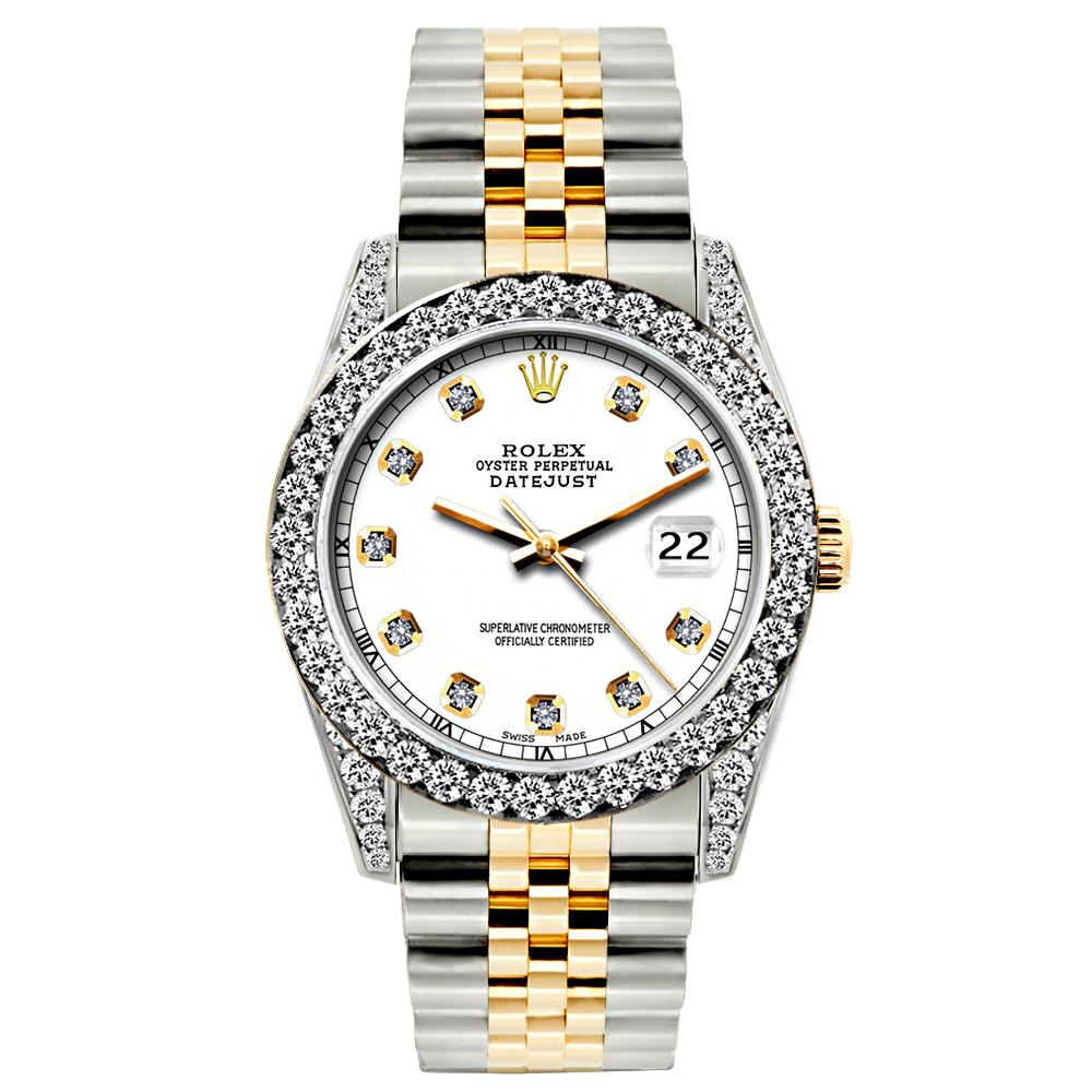 Rolex Datejust 26mm Yellow Gold and Stainless Steel Bracelet White Dial w/ Diamond Bezel and Lugs