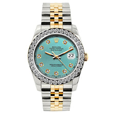 Load image into Gallery viewer, Rolex Datejust 26mm Yellow Gold and Stainless Steel Bracelet Cadet Blue Dial w/ Diamond Bezel