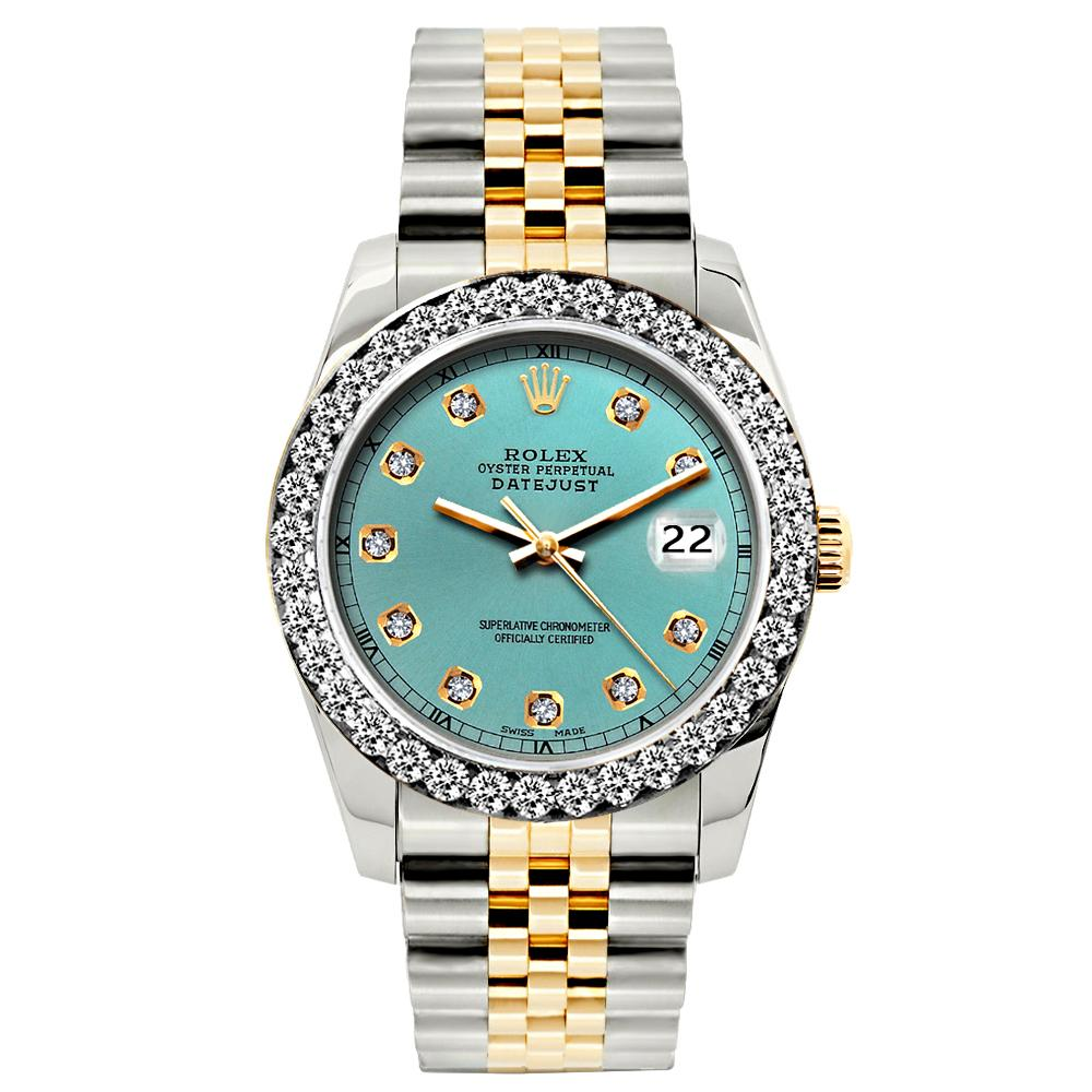 Rolex Datejust 26mm Yellow Gold and Stainless Steel Bracelet Cadet Blue Dial w/ Diamond Bezel
