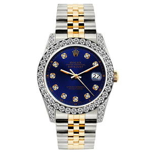 Rolex Datejust 26mm Yellow Gold and Stainless Steel Bracelet Midnight Express Dial w/ Diamond Bezel and Lugs