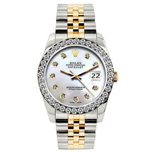 Rolex Datejust 26mm Yellow Gold and Stainless Steel Bracelet Pattens Blue Dial w/ Diamond Bezel