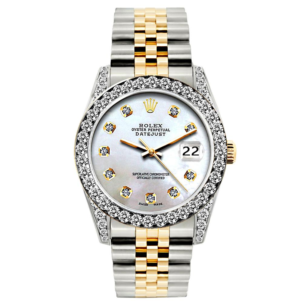 Rolex Datejust 26mm Yellow Gold and Stainless Steel Bracelet Pattens Blue Dial w/ Diamond Bezel and Lugs
