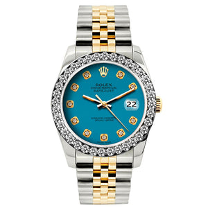 Rolex Datejust 26mm Yellow Gold and Stainless Steel Bracelet Eastern Blue Dial w/ Diamond Bezel