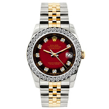 Load image into Gallery viewer, Rolex Datejust 26mm Yellow Gold and Stainless Steel Bracelet Red and Black Dial w/ Diamond Bezel