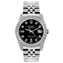 Load image into Gallery viewer, Rolex Datejust 26mm Stainless Steel Bracelet Black Dial w/ Diamond Bezel and Lugs