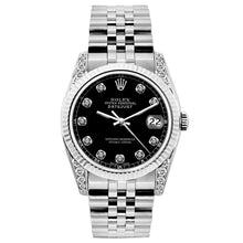 Load image into Gallery viewer, Rolex Datejust 26mm Stainless Steel Bracelet Black Roman Dial w/ Diamond Lugs