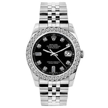 Load image into Gallery viewer, Rolex Datejust 26mm Stainless Steel Bracelet Black Dial w/ Diamond Bezel