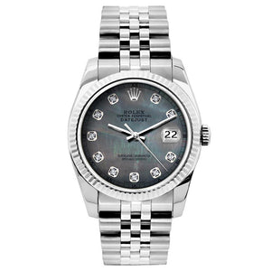 Rolex Datejust 26mm Stainless Steel Bracelet Black Mother of Pearl Dial