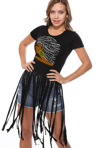 BEAUTIFUL AFRO GIRL T-SHIRT FRINGE DISTRESSED RIPPED
