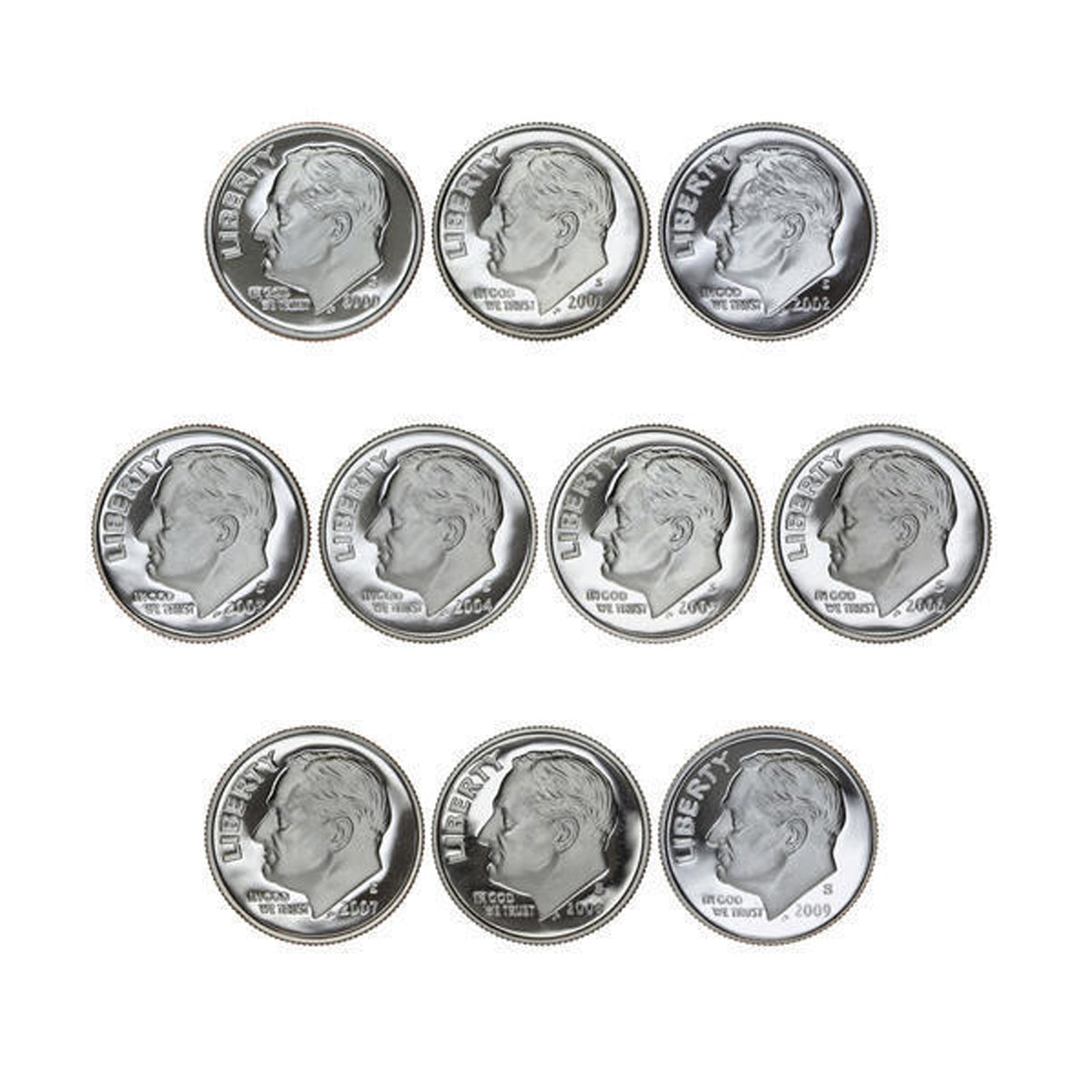 2000-2009 S Proof Roosevelt Dime Run CN-Clad 10 Coins